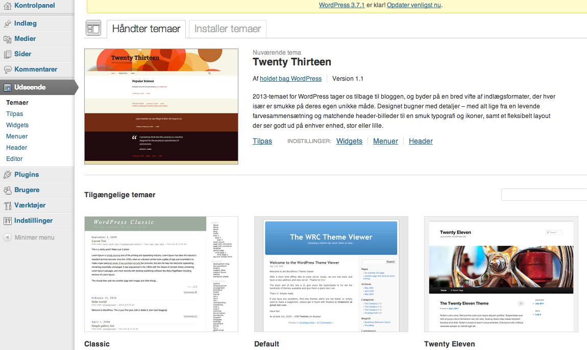 Nu kan du vælge en række gratis WordPress temaer, da du ikke har købt et endnu.