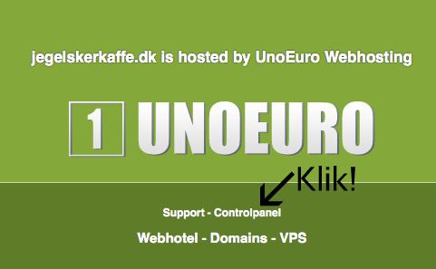 Log ind på UnoEuros kontrolpanel, så vi kan installere WordPress.