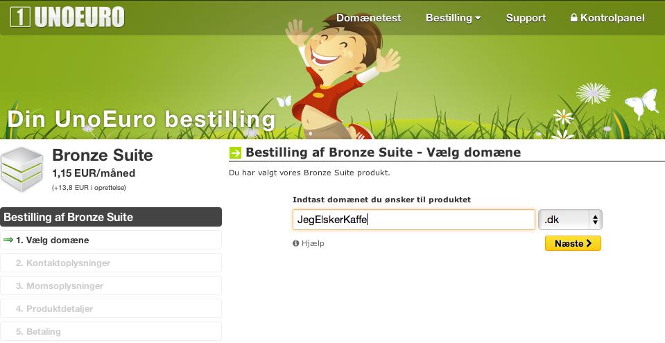 Køb det domæne som du gerne vil have, at din blog skal hedde.