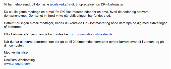 Information fra DK-Hostmaster som styrer dit domæne.