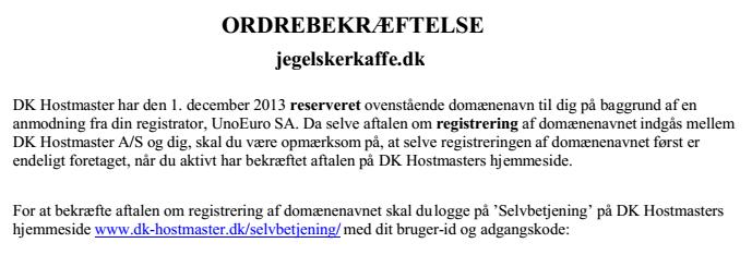 aktiver domæne DK-Hostmaster