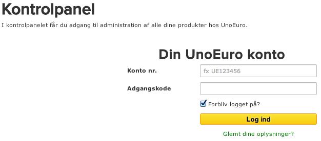 Nu skal du bruge dine informationer du fik i en e-mail til at logge ind på UnoEuros kontrolpanel.