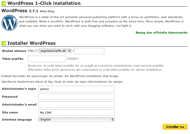 Udfyld informationerne så du kan få WordPress på din blog.