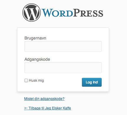 Nu skal du logge ind i dit WordPress kontrolpanel på dit domæne.
