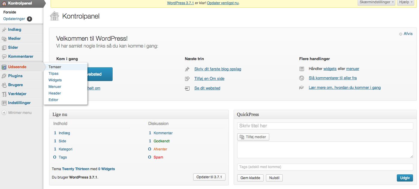 Ændre tema i WordPress