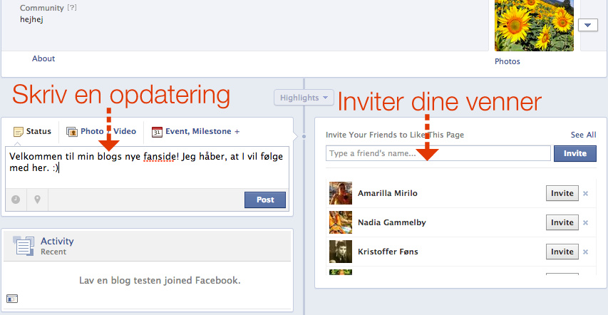 inviter dine venner på Facebook