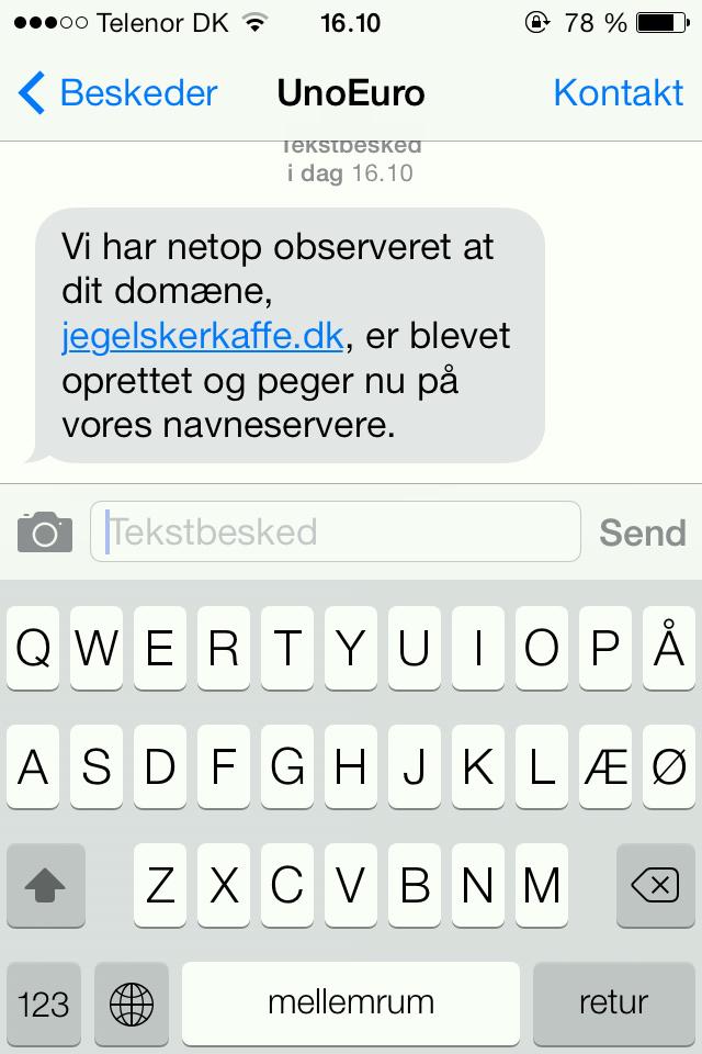 Nu giver UnoEuro dig en sms med, at domænet er bekræftet. Lav en blog rykker tættere på.