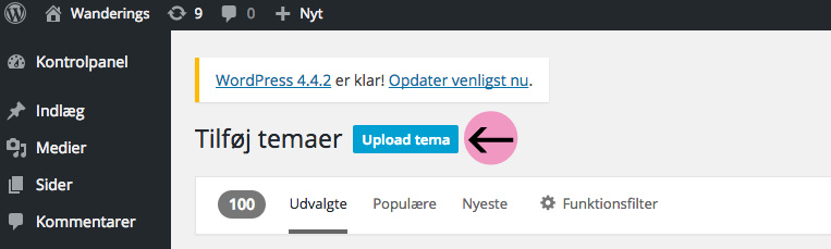 upload tema til WordPress