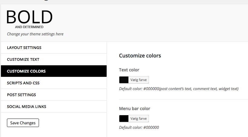 customize colors BOLD theme