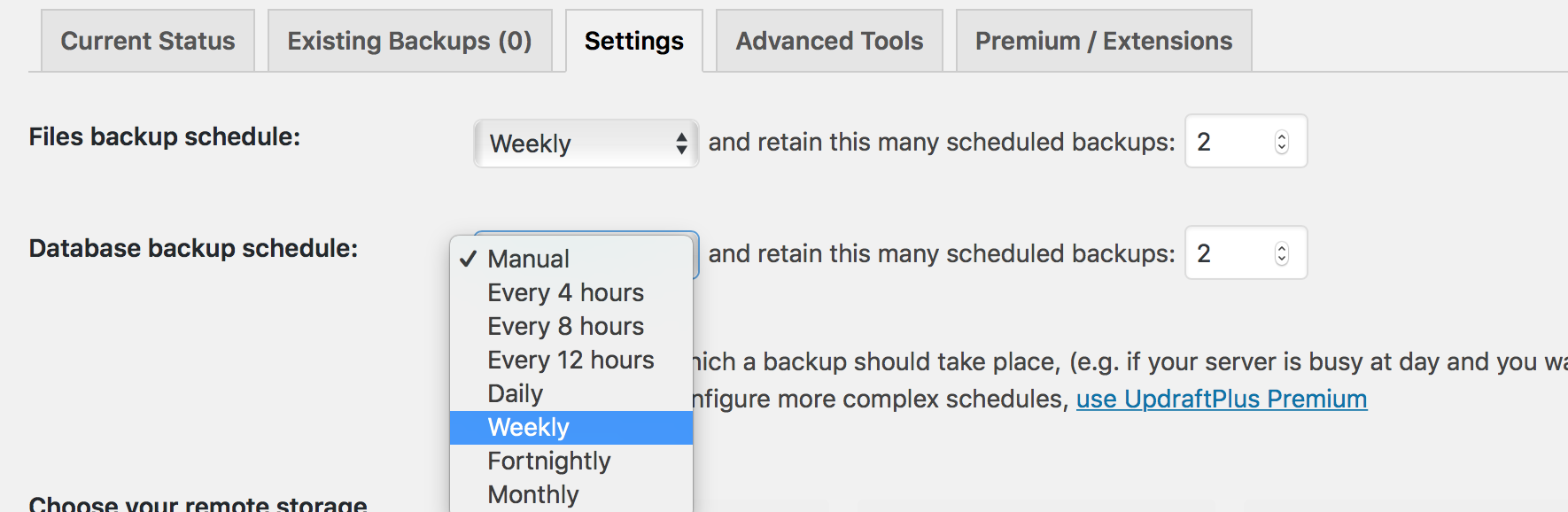 Her ænder du hvor tit du laver en automatisk backup af din WordPress database.