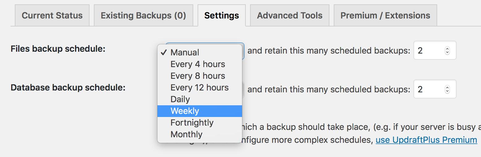 Her ænder du hvor tit du laver en automatisk backup af indlæg.
