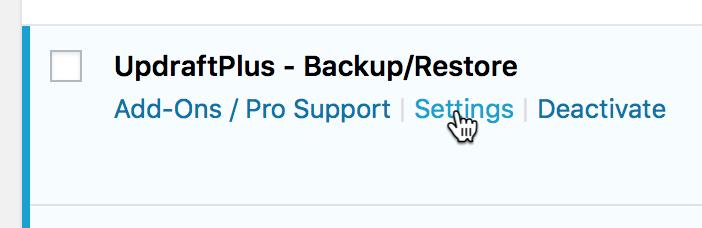 Nu skal du gå til UpdraftPlus WordPress Backup Plugins indstillinger.