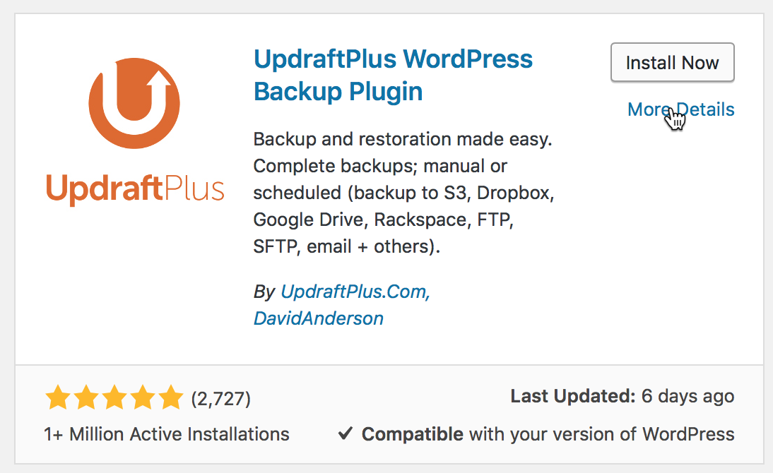Få gratis backup med UpdraftPlus WordPress Backup Plugin til WordPress.