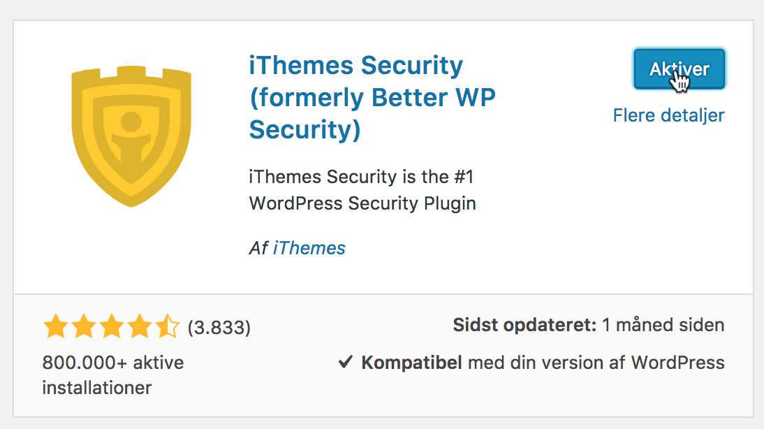 Nu aktiverer du iThemes Security.