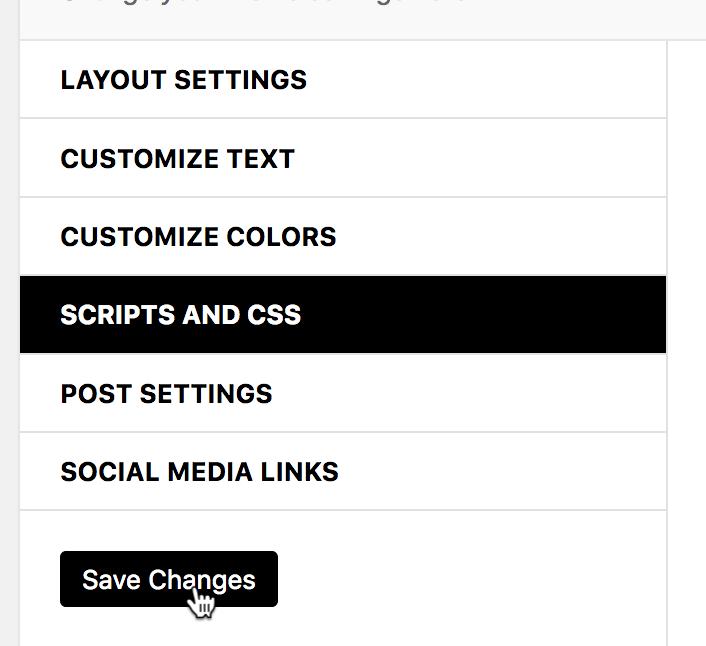 Her gemmer du dine ændringer i bold wordpress tema