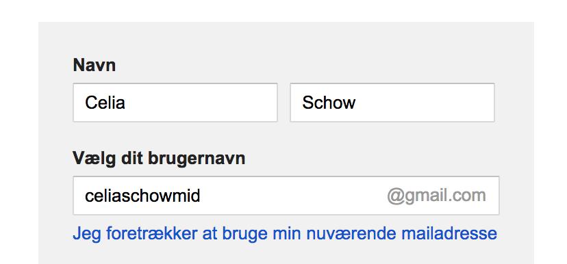 Nu opretter du din gmail konto.